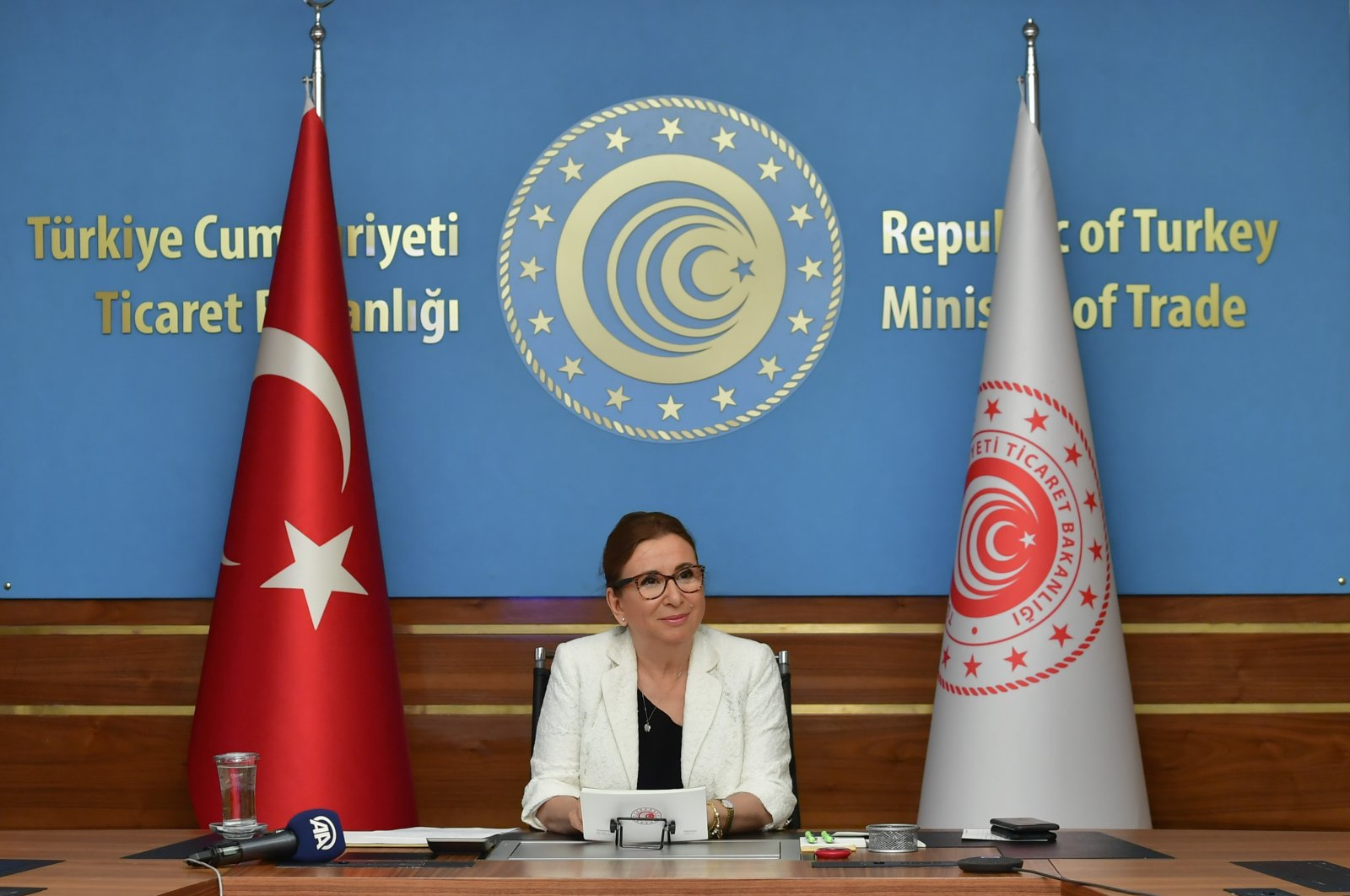 Turkey's Trade Minister Ruhsar Pekcan speaks during a meeting at the ministry's headquarters, Ankara, June 24, 2020.