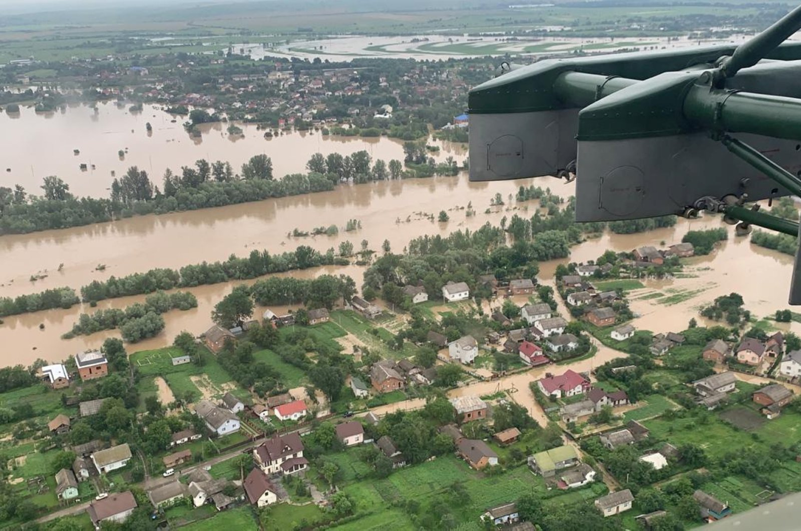 An aerial view shows flooded residential buildings in Ivano-Frankivsk region, Ukraine, June 24, 2020. (Reuters Photo)