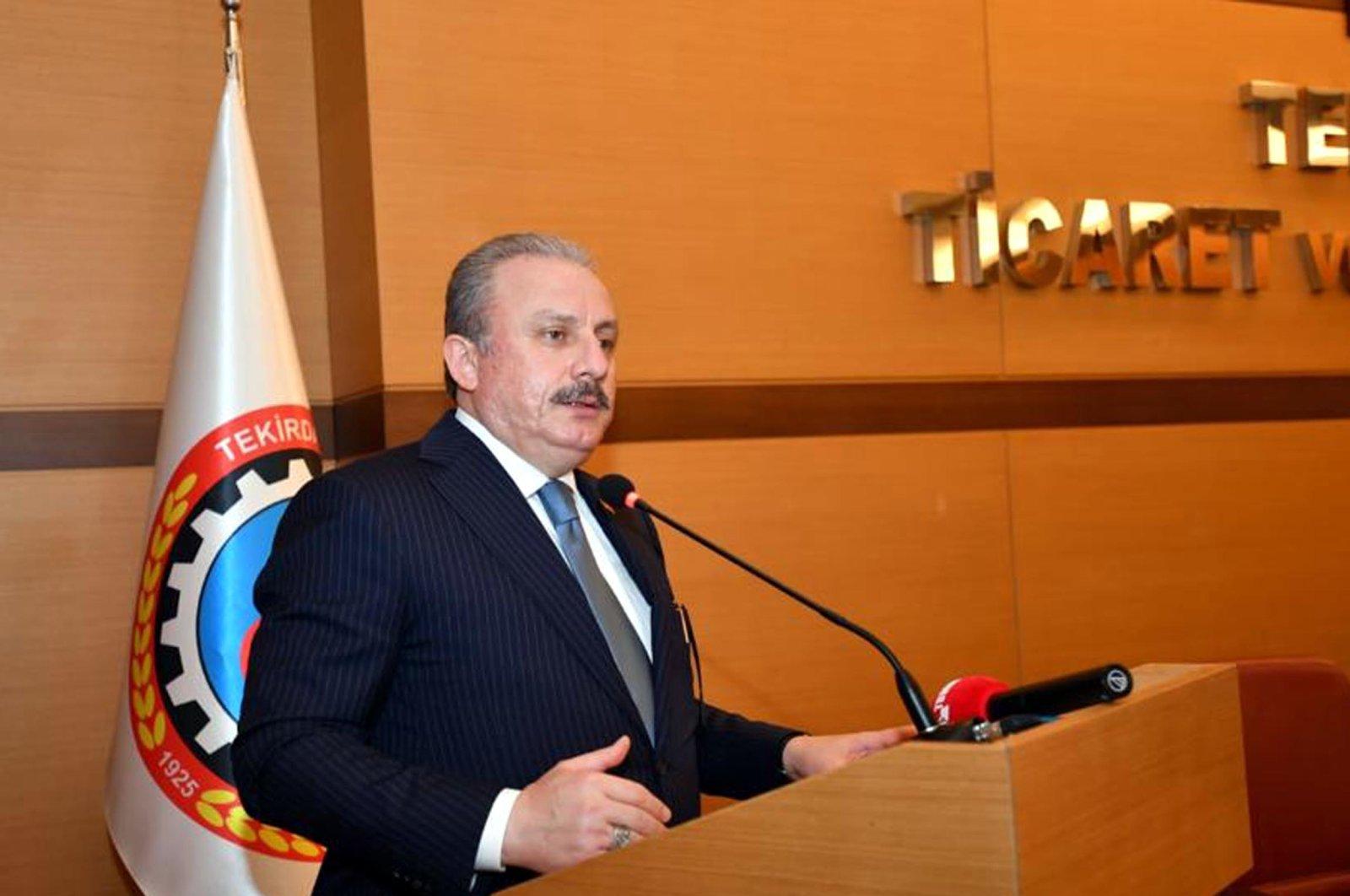 Parliament Speaker Mustafa Şentop speaks during a visit to Turkey's Tekirdağ province, June 20, 2020. (DHA Photo)