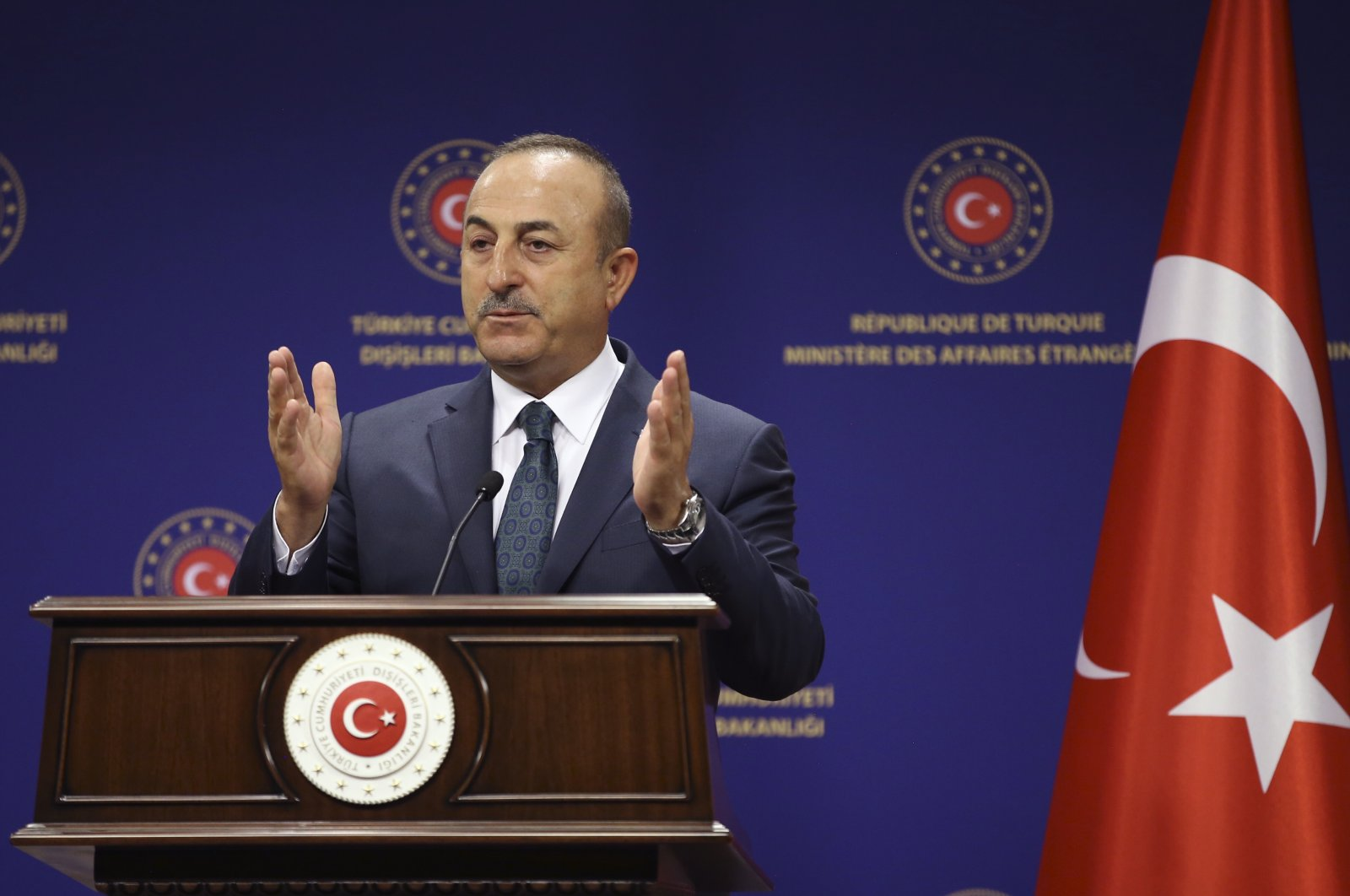 Turkey's Foreign Minister Mevlut Cavusoglu speaks during a joint press conference with Italy's Foreign Minister Luigi Di Maio, Ankara, June 19, 2020. (AP Photo)