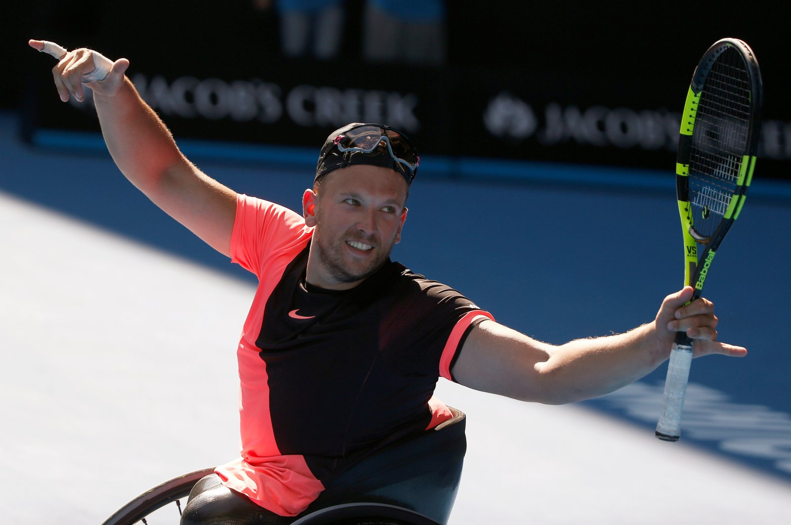 Dylan Alcott of Australia celebrates winning against David Wagner of the U.S. during Australian Open January 27, 2018. (Reuters Photo)