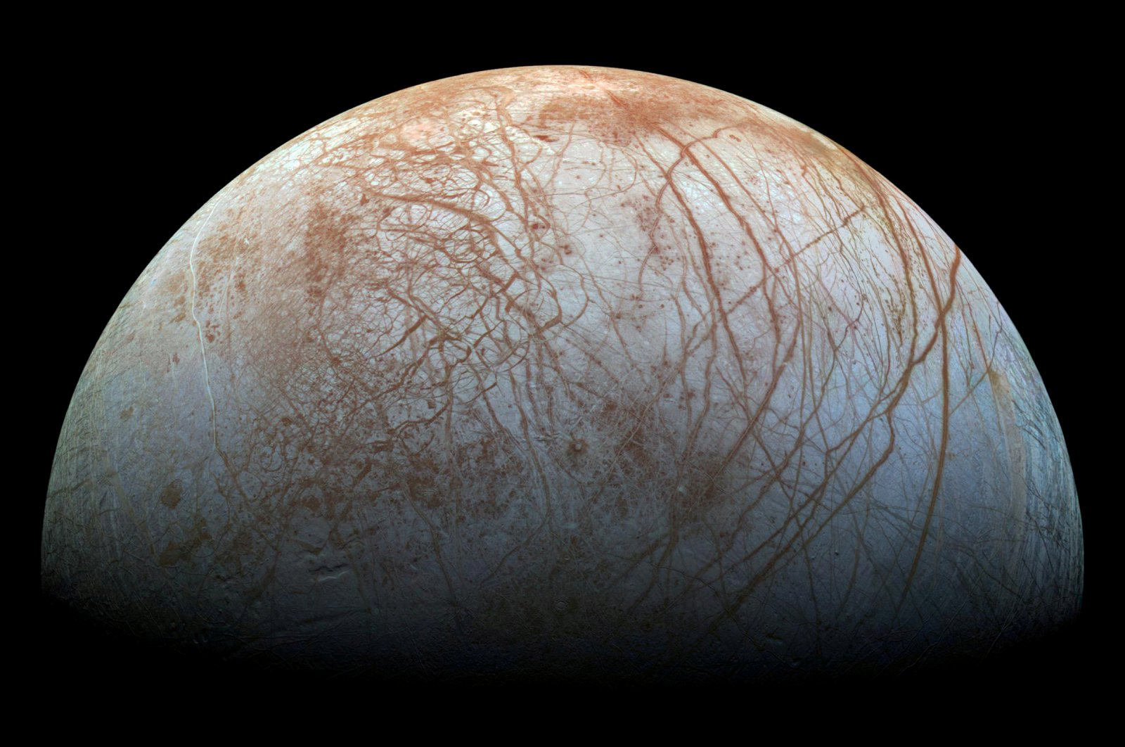 A view of Jupiter's moon Europa created from images taken by NASA's Galileo spacecraft in the late 1990s, obtained by Reuters, May 14, 2018. (NASA / JPL-Caltech / SETI Institute / Handout via Reuters)