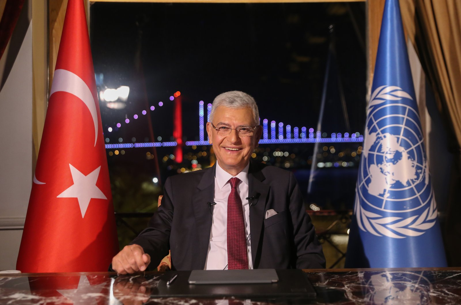 Turkish diplomat Volkan Bozkır poses before an opening speech as the 75th president of the United Nations General Assembly (UNGA), in a videoconference, Istanbul, Turkey, June 22, 2020. (AA Photo)