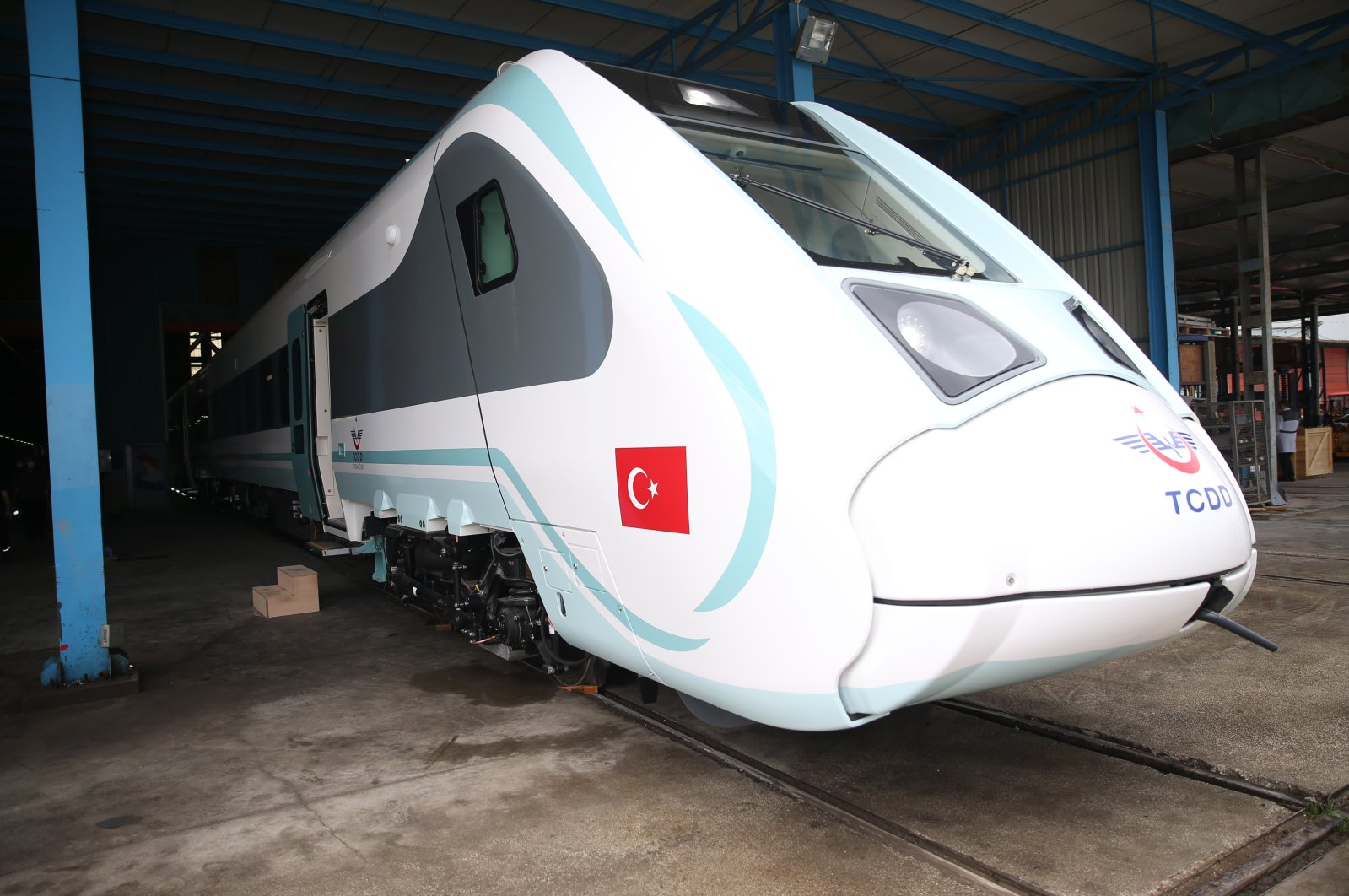 The first Turkish-made electric train is seen at the Turkish Wagon Industry plant in the northwestern province of Sakarya, June 15, 2020. (AA Photo)