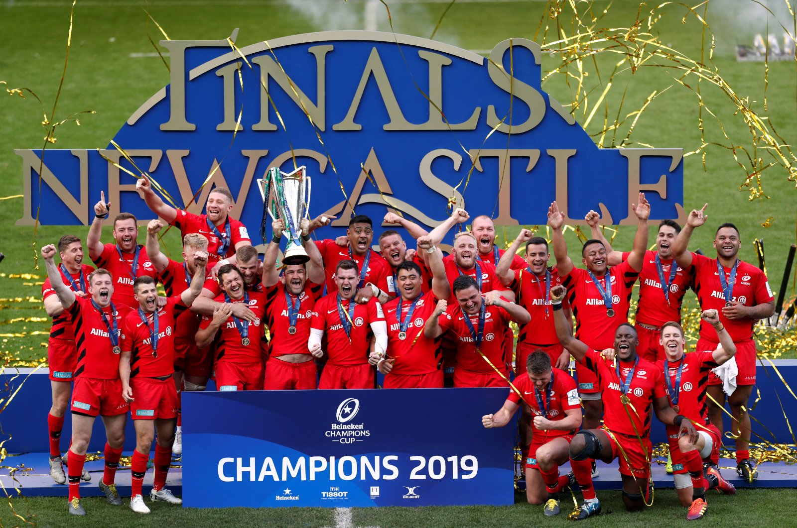 Saracens players celebrate winning European Champions Cup Final, Newcastle, Britain, May 11, 2019. (Reuters Photo)