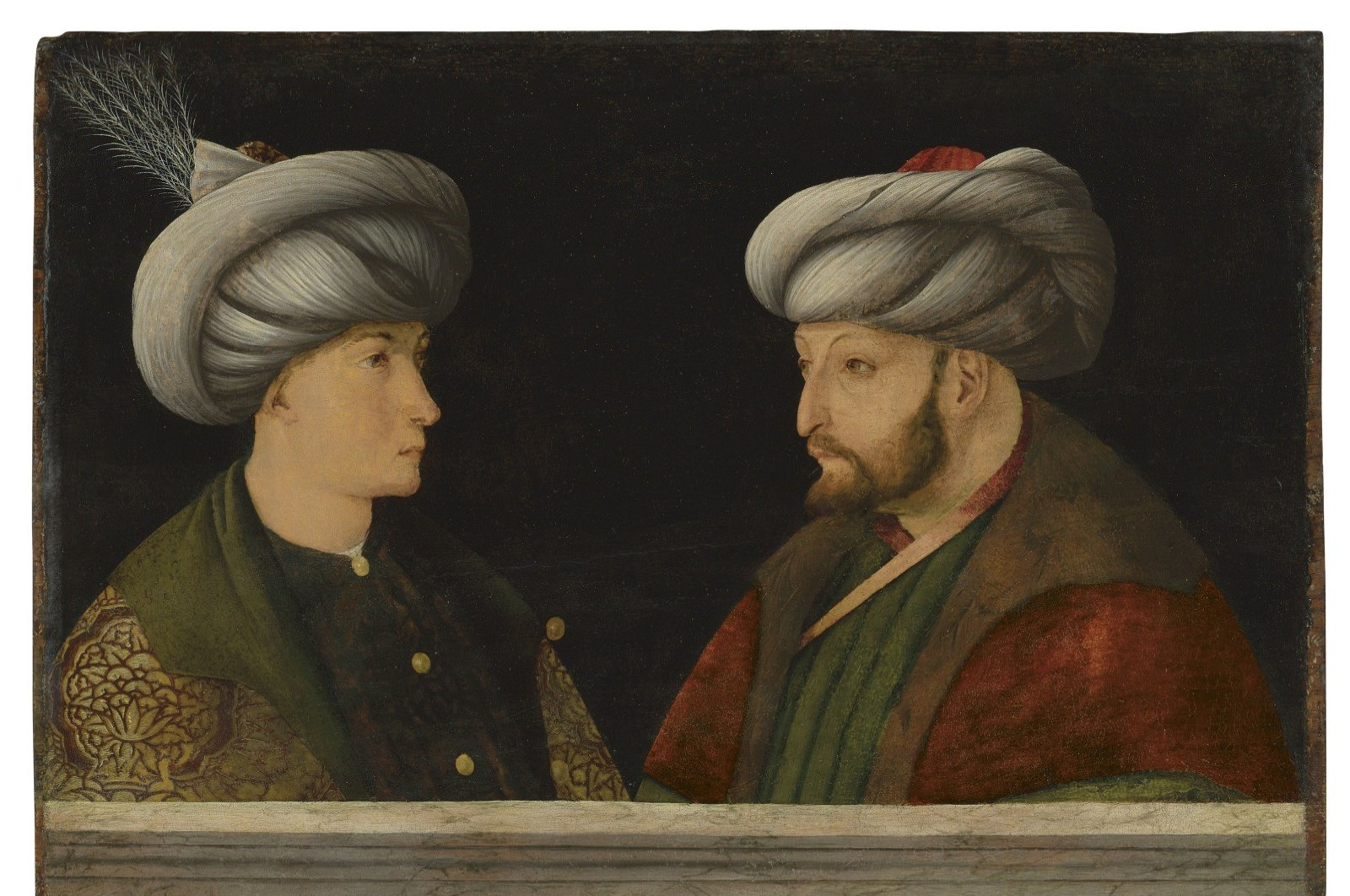 The painting depicts Sultan Mehmed the Conqueror with an unknown person.( DHA PHOTO)