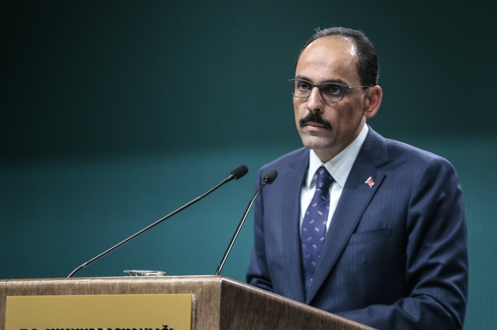 Presidential Spokesperson Ibrahim Kalın speaking at a press conference, June 17, 2019 (AA Photo)