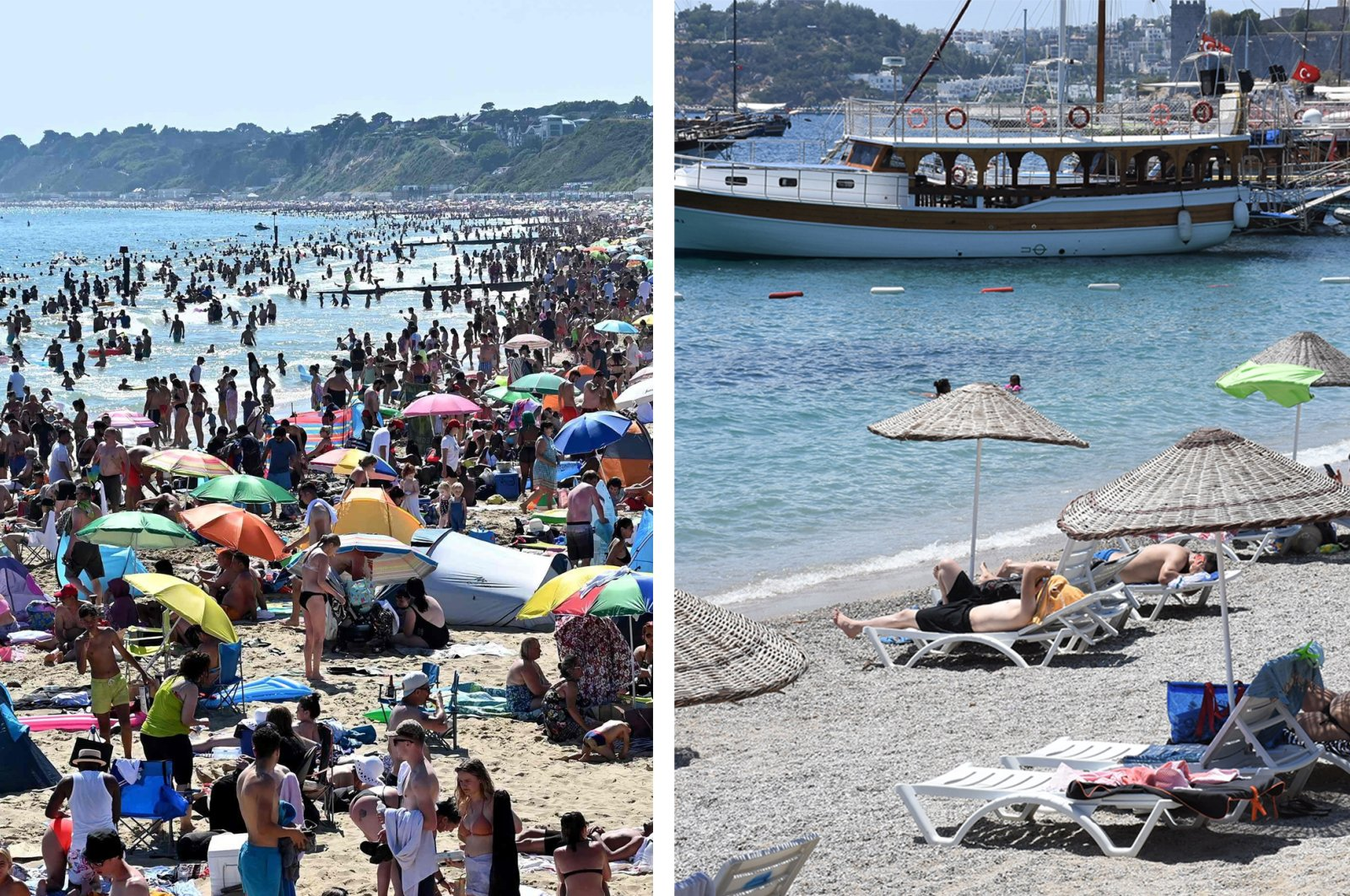As the tourism season starts to begin, the stark difference between the beaches of Turkey and the U.K., in terms of the social distancing, draws major attention in social media. (PHOTOS BY AFP-AA)