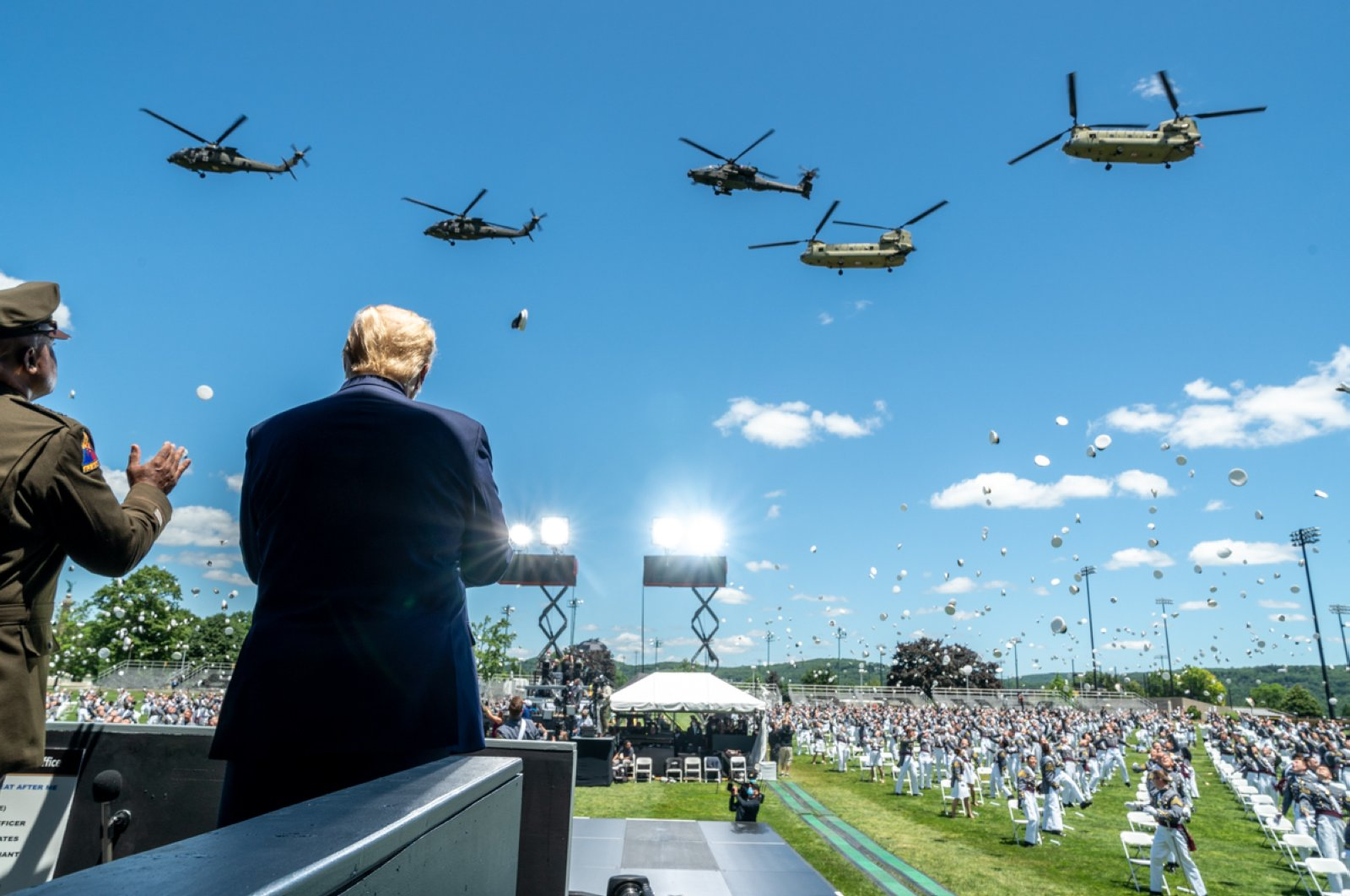 U.S. President Donald Trump attends a graduation ceremony for the U.S. Military Academy at West Point, New York, June 13, 2020. (Reuters Photo)
