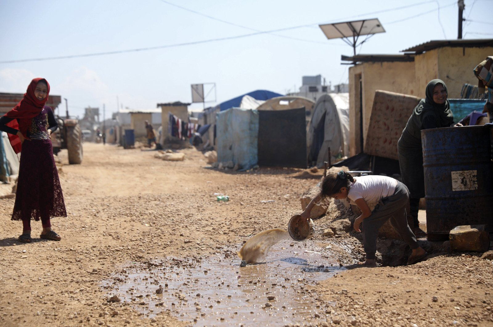 A large refugee camp on the Syrian side of the border with Turkey, near the town of Atma, in Idlib province, April 19, 2020. (AP Photo)