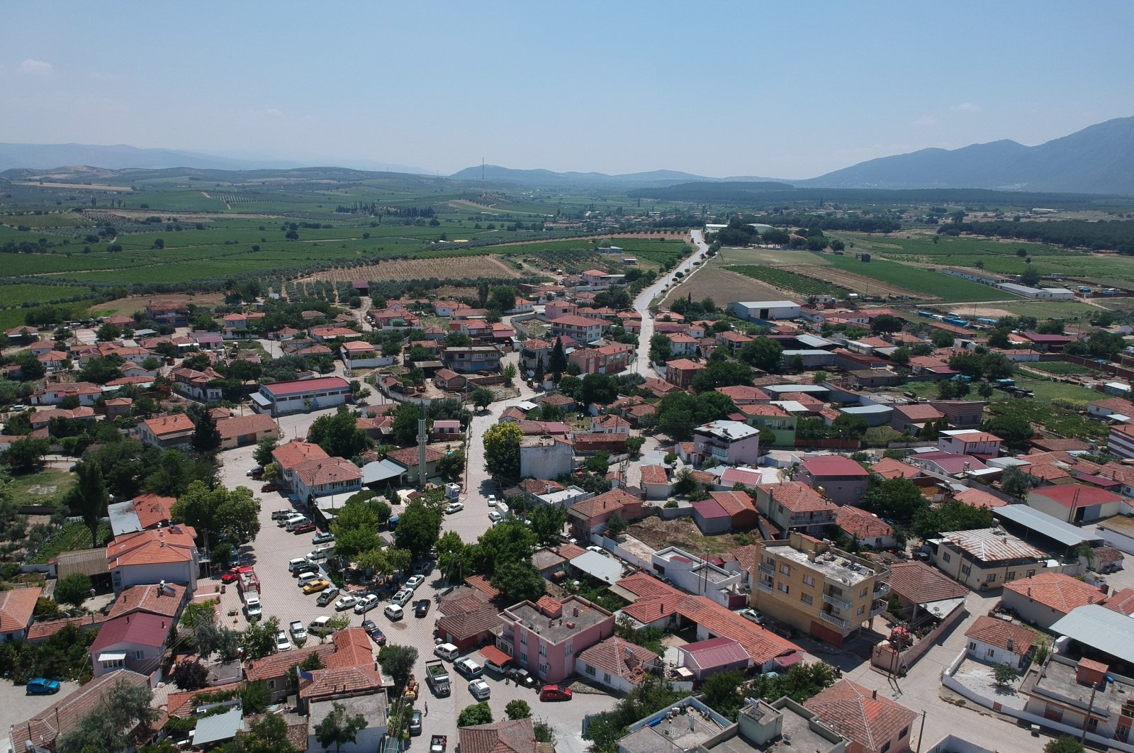 This drone image shows Kumkuyucak village in the Saruhanlı district of western Manisa province after the magnitude 5.5 earthquake that rattled western Turkey, on June 26, 2020. (AA Photo)