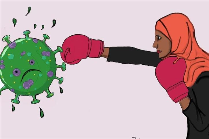 A drawing by Nujuum Hashi Ahmed shows her punching the coronavirus. (AA PHOTO)