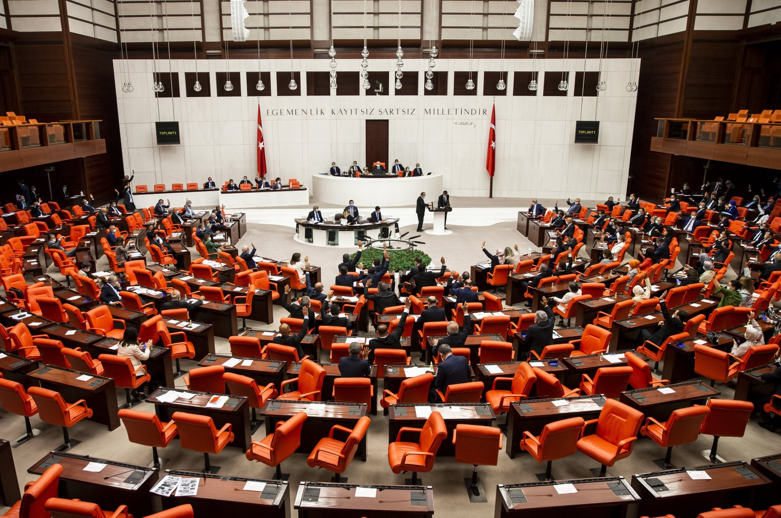 Back in March, the Turkish Parliament barred visitors as a precaution against the spread of the coronavirus. (AA)