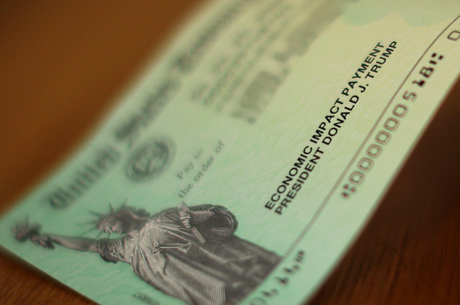 U.S. President Donald Trump's name appears on the coronavirus economic assistance checks that were sent to citizens across the country, Washington, D.C., April 29, 2020. (AFP Photo)