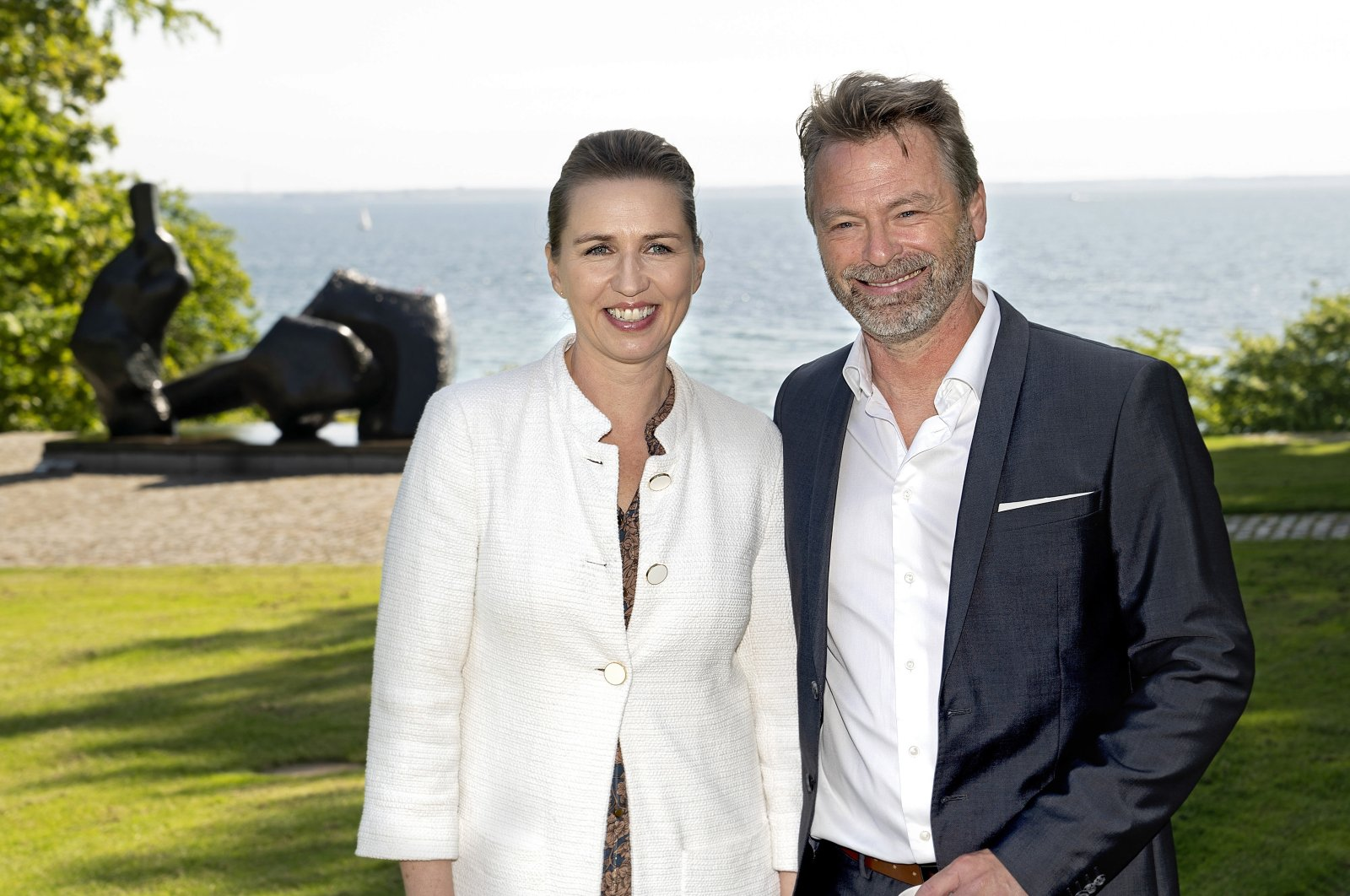 Danish Prime Minister Mette Frederiksen (L) and her fiance, Bo Tengberg, pose for a photograph during their visit to the Louisiana Museum of Modern Art in Humlebaek, Denmark, May 22, 2020. (EPA Photo)