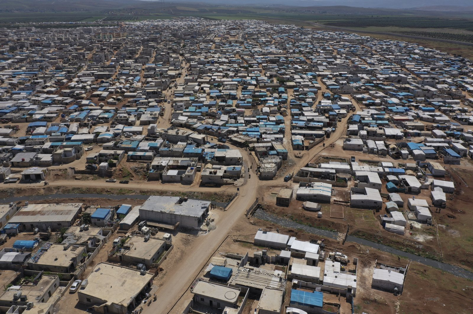 A large refugee camp on the Syrian side of the border with Turkey, near the town of Atma, in Idlib province, April 19, 2020.