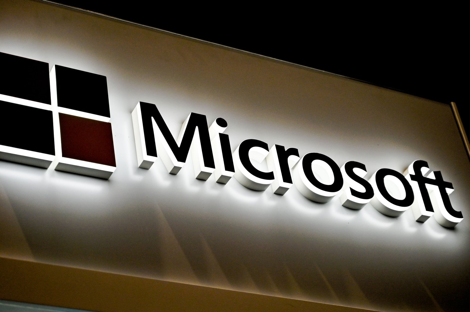 The Microsoft logo at the International Cybersecurity Forum (FIC) in Lille, Jan. 28, 2020. (AFP Photo)