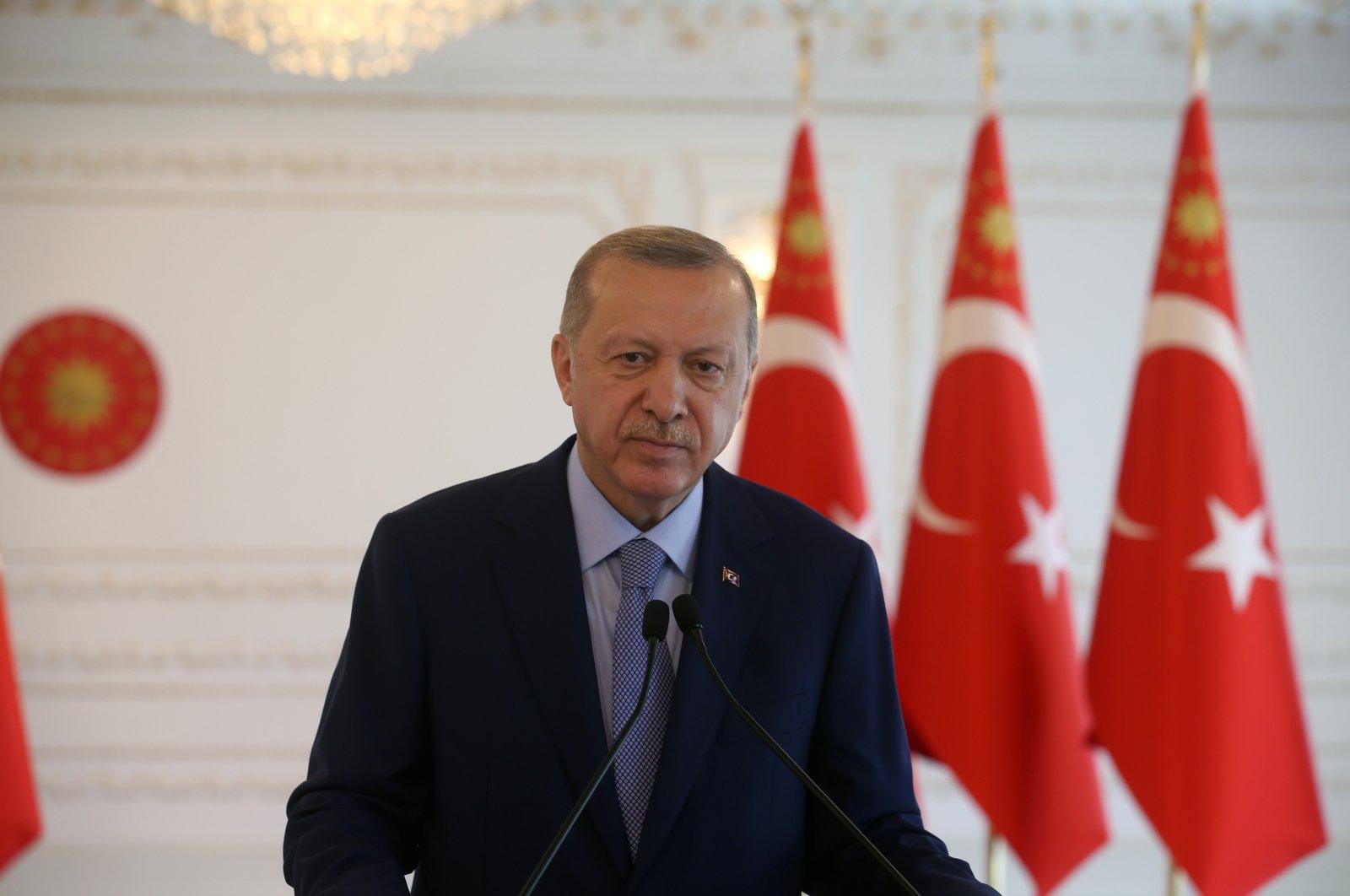 President Recep Tayyip Erdoğan at an event in Ankara, Turkey, June 22, 2020. (AA Photo)