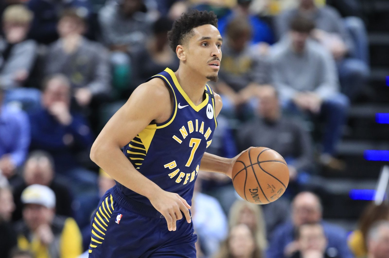 Malcolm Brogdon of the Indiana Pacers dribbles the ball in a match in Indianapolis, United States, Feb. 10, 2020. (AFP Photo)