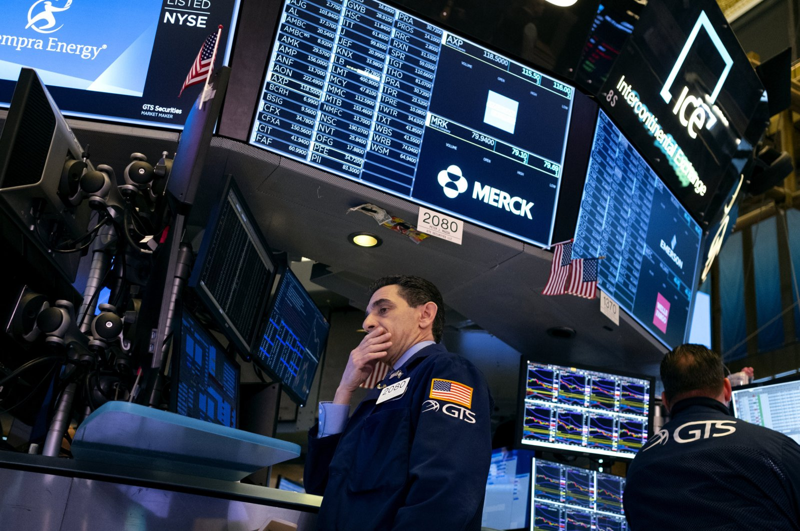 Trader Peter Mazza works on the floor of the New York Stock Exchange, in New York, United States, Feb. 27, 2020. (AP Photo)