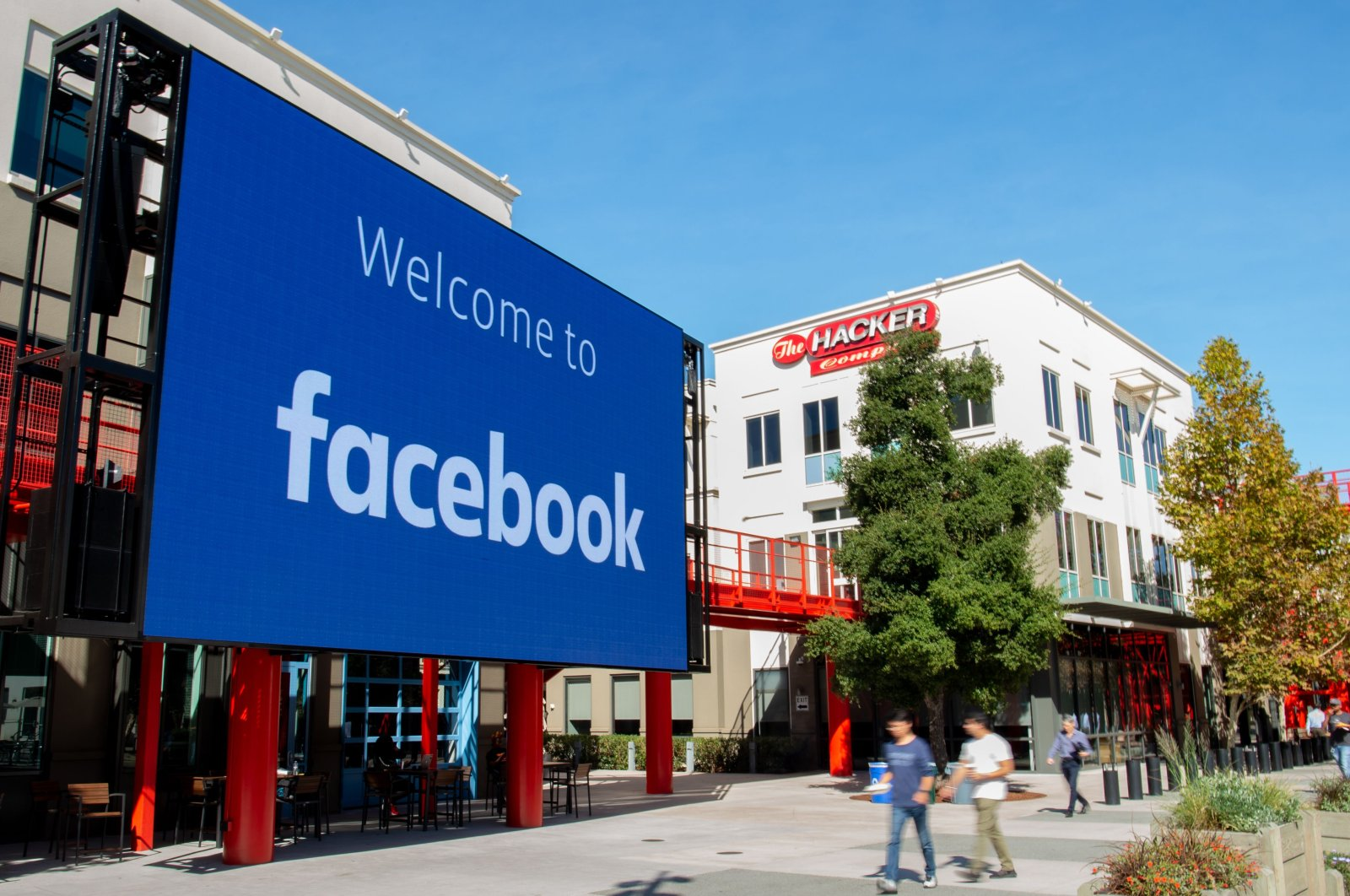 A giant digital sign is seen at Facebook's corporate headquarters campus in California, U.S., Oct. 23, 2019. (AFP Photo)