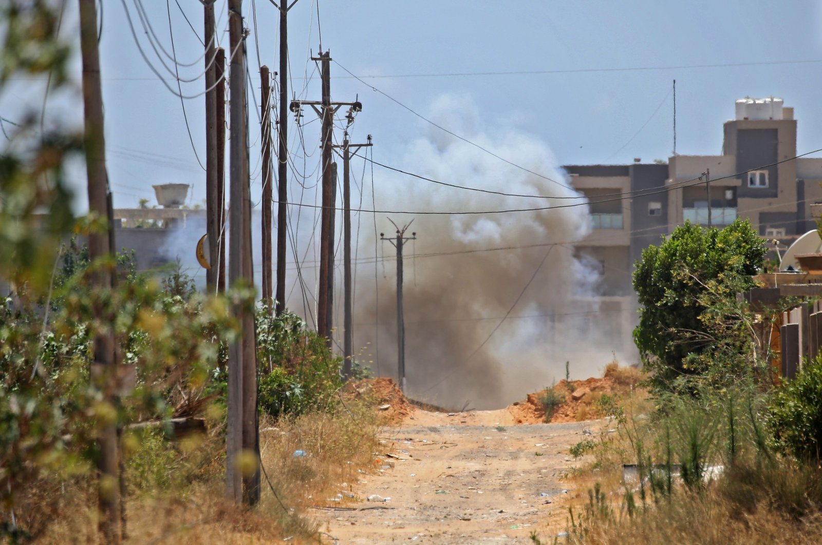 A landmine explodes during Turkish demining operations in the Salah al-Din area, south of Tripoli, Libya, June 15, 2020. (AFP Photo)