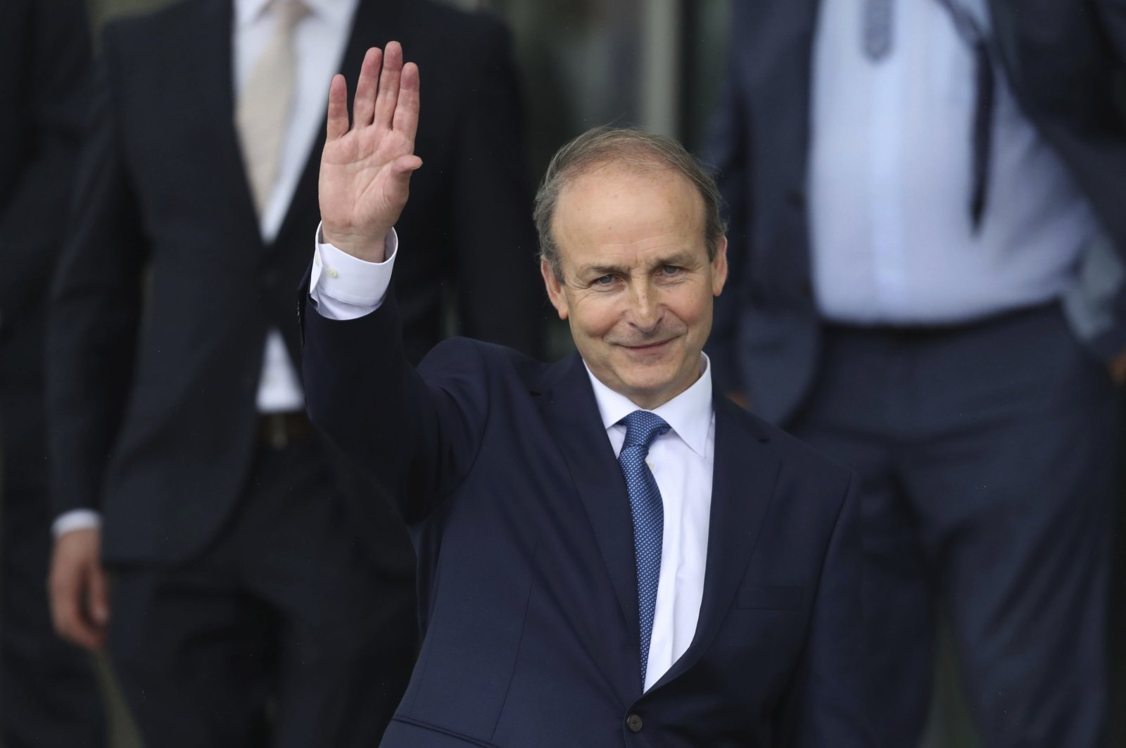 Fianna Fail party leader Micheal Martin leaves the Dail government in Dublin, where he has been officially elected as the new Irish Premier, June 27, 2020. (AP Photo)