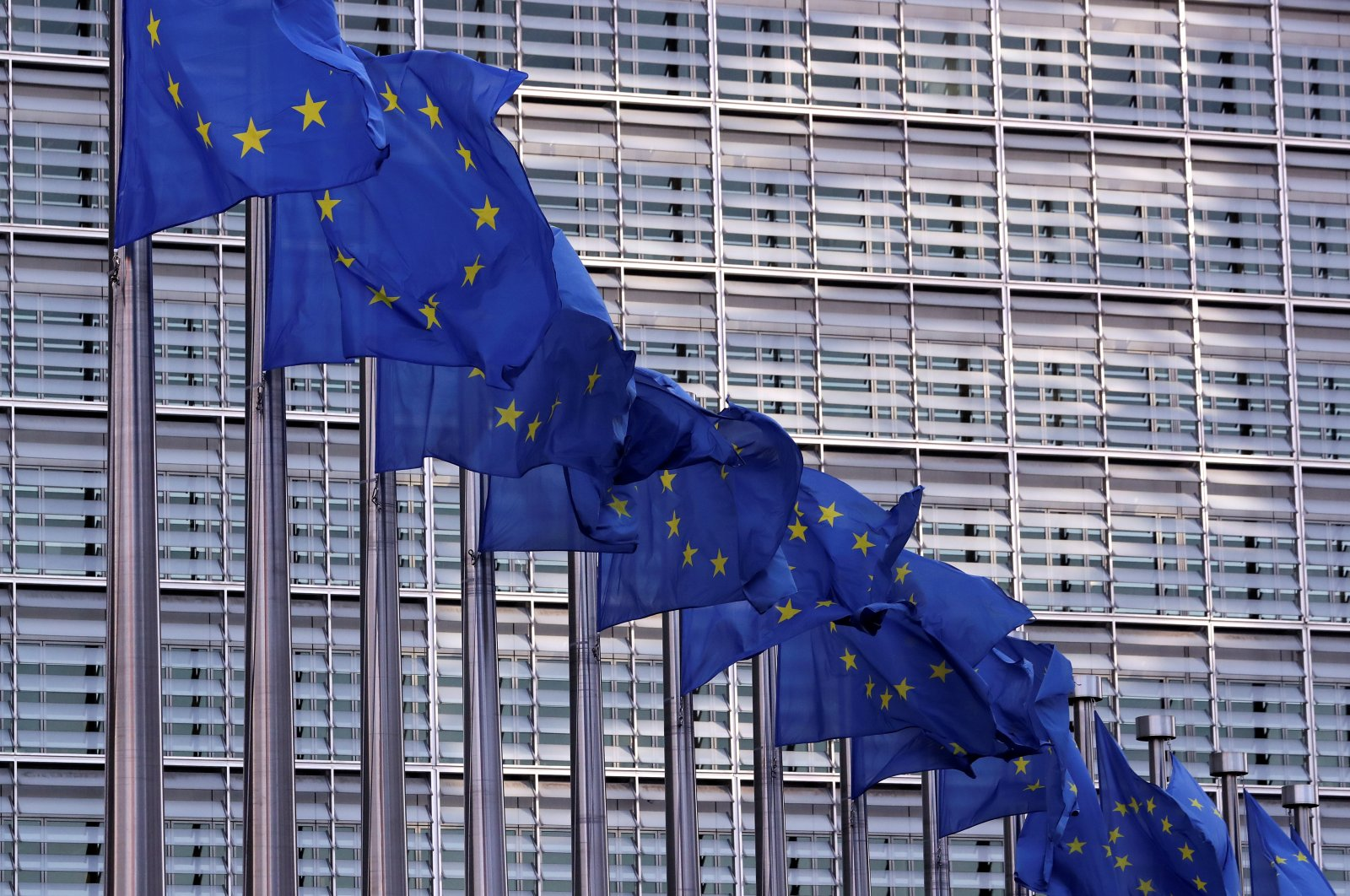 European Union flags fly outside the European Commission headquarters in Brussels, Belgium, February 19, 2020. (Reuters Photo)