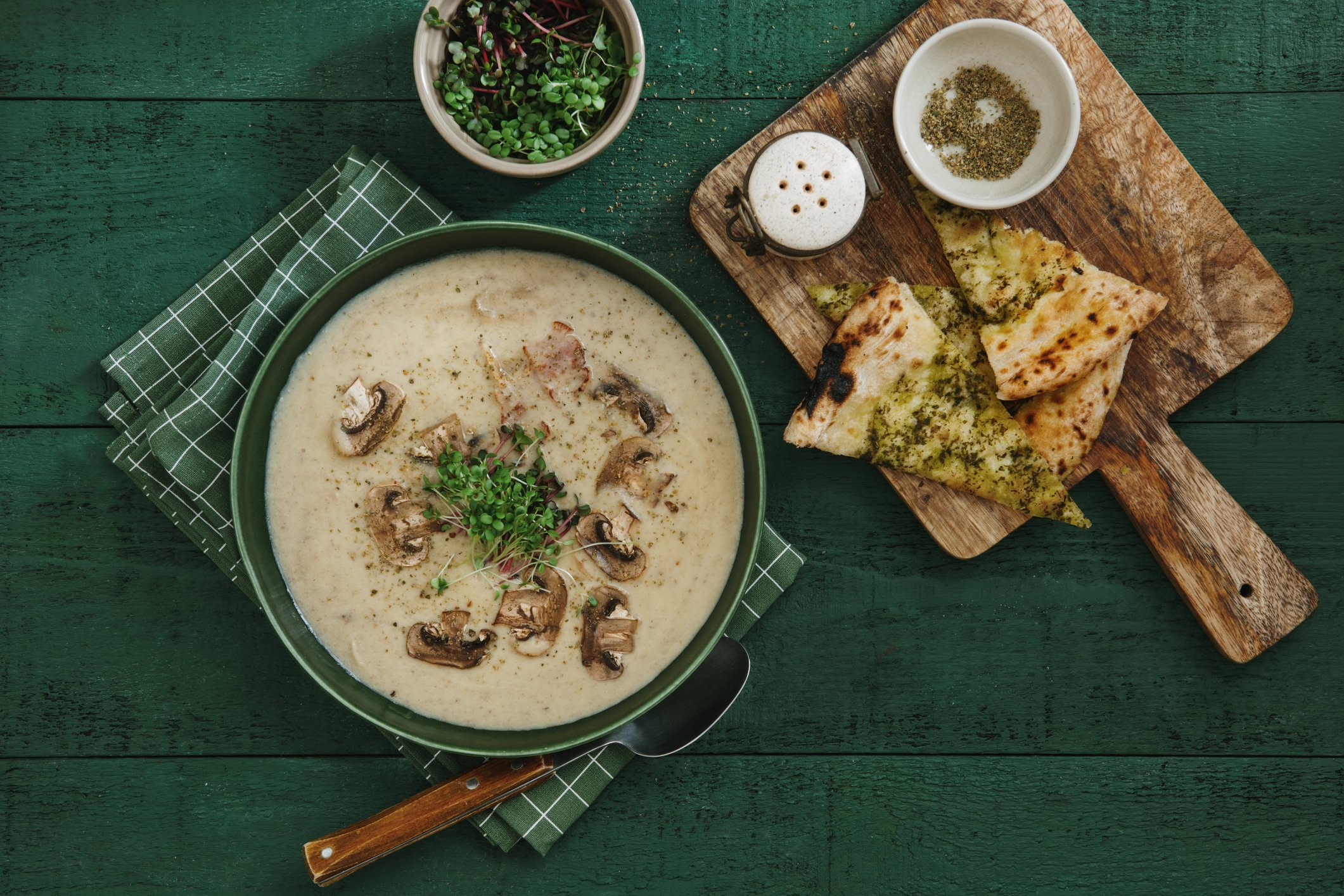 When making cream of mushroom soup, try to choose milder-flavored mushrooms. (iStock Photo)