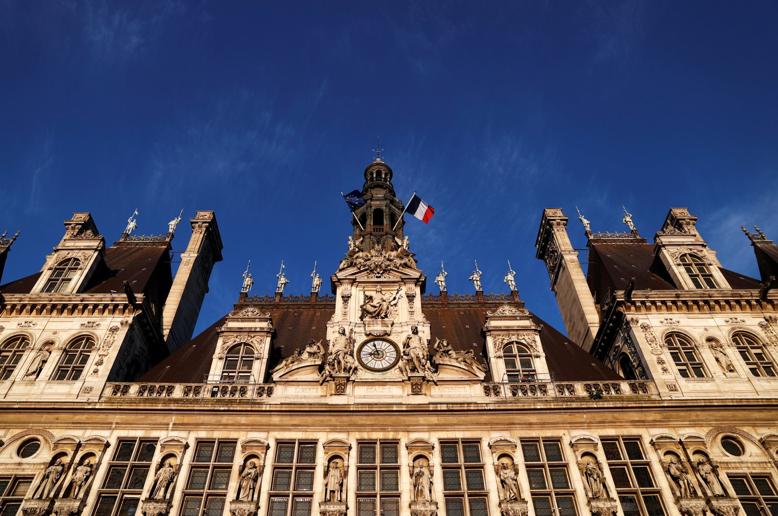 A general view shows the facade of Paris city hall, France, June 24, 2020. (Reuters Photo)