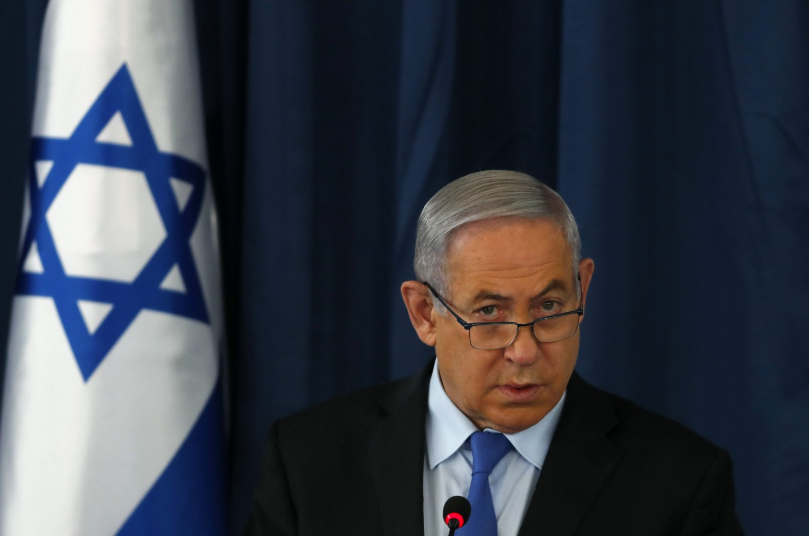 Israeli Prime Minister Benjamin Netanyahu holds the weekly cabinet meeting in Jerusalem, June 28, 2020. (AP Photo)