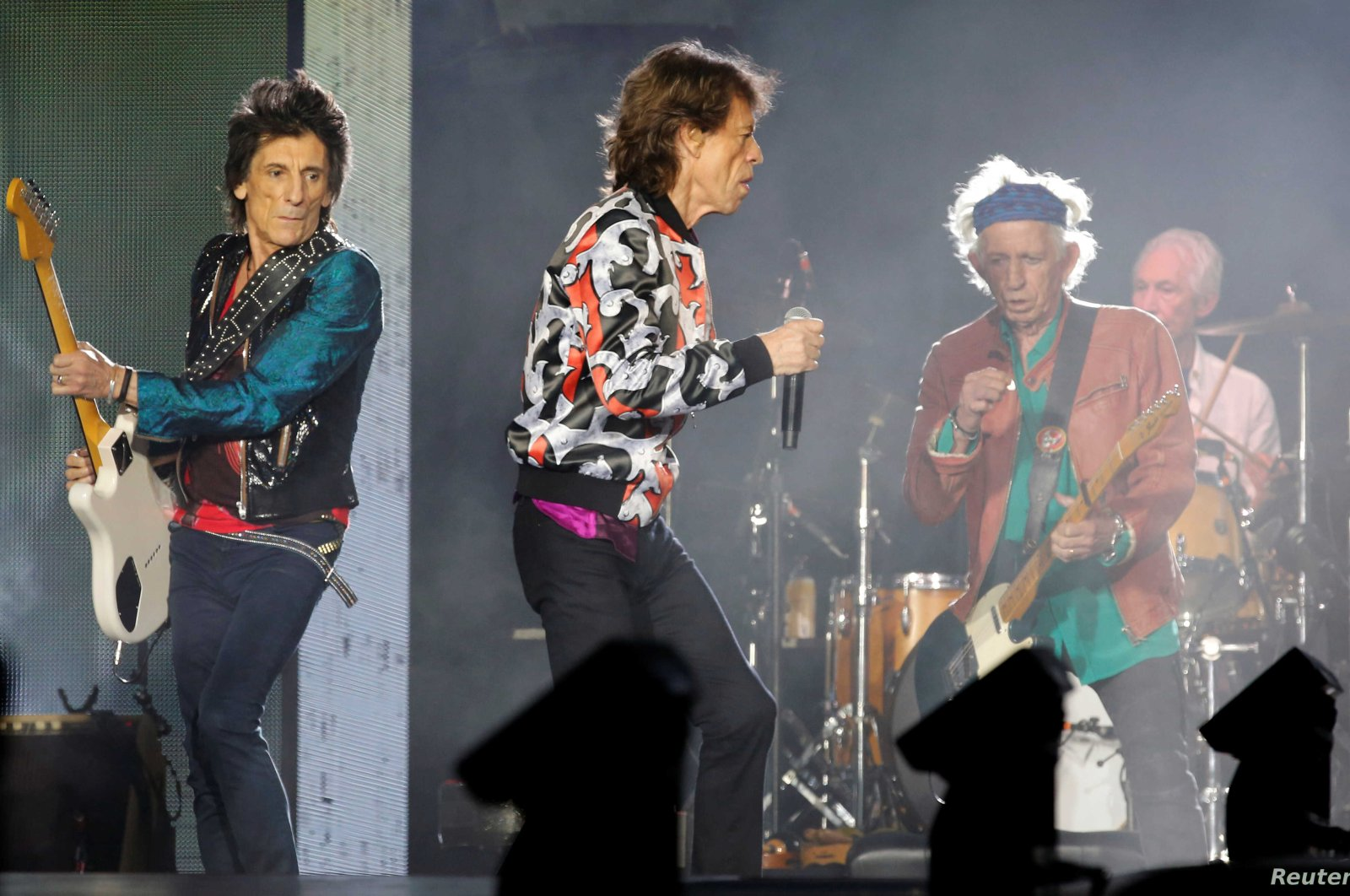 """Ron Wood (L), Mick Jagger (C), Keith Richards (center right) and Charlie Watts of the Rolling Stones perform during a concert of their """"No Filter"""" European tour at the Orange Velodrome stadium in Marseille, France, June 26, 2018. (Reuters File Photo)"""