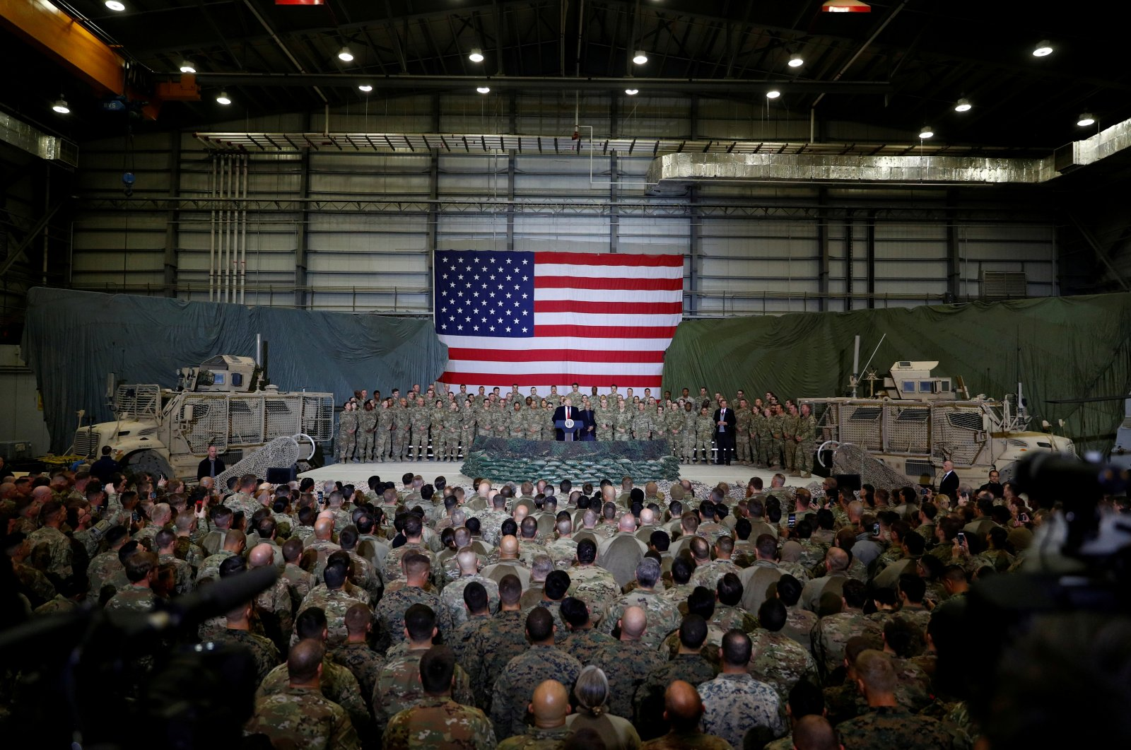 U.S. President Donald Trump delivers remarks to U.S. troops during an unannounced visit to Bagram Air Base, Afghanistan, Nov. 28, 2019. (Reuters File Photo)