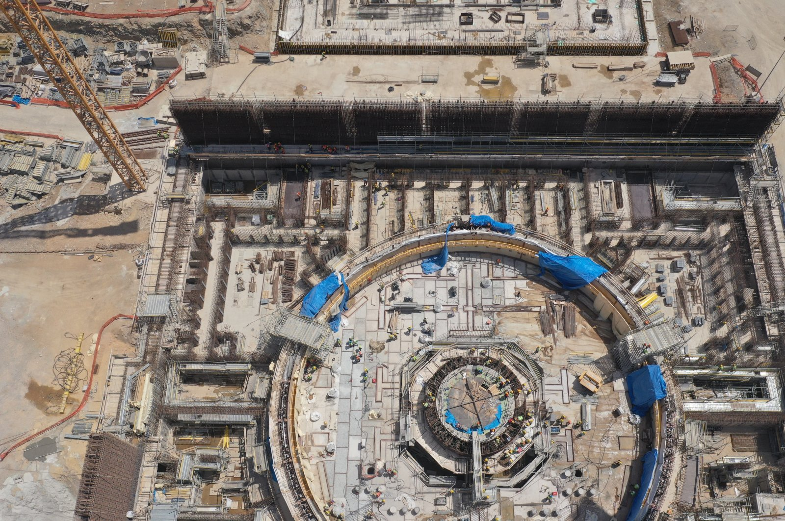 Construction work continues at Akkuyu Nuclear Power Plant (NGS) in the Gülnar district of southern Turkey's Mersin province, June 26, 2020. (Photo by Energy and Natural Resources Ministry via AA)