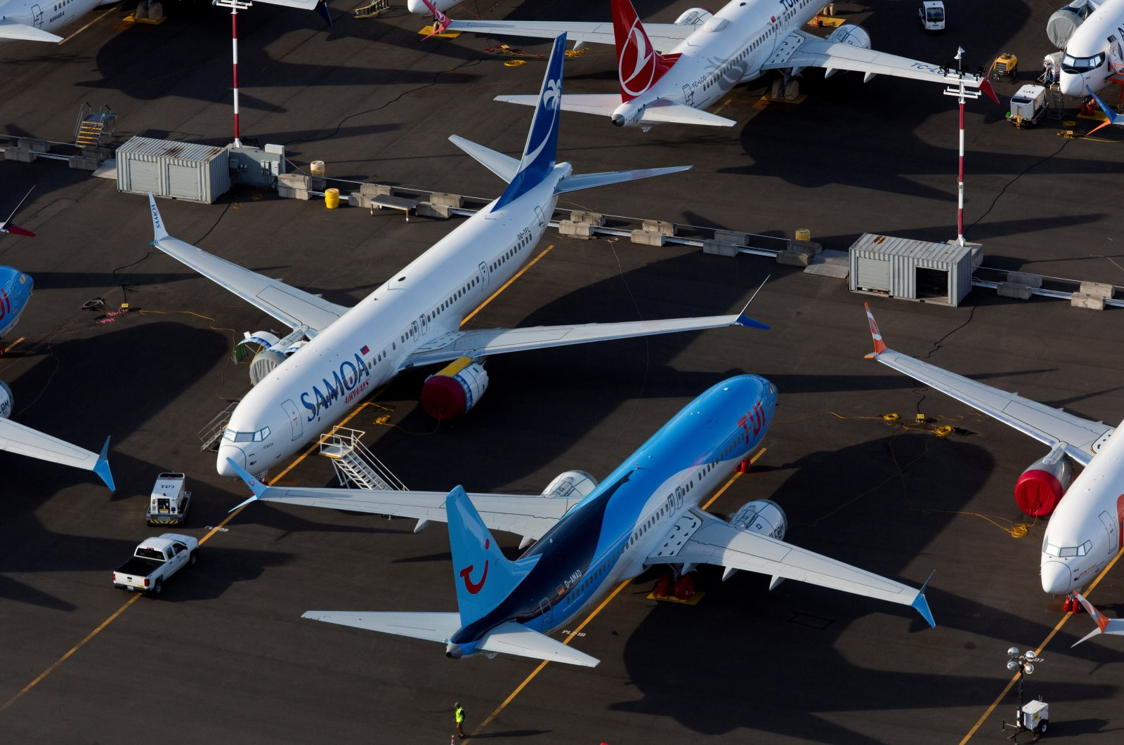 Boeing 737 Max aircraft are parked in a parking lot at Boeing Field in this aerial photo over Seattle, Washington, U.S., June 11, 2020. (Reuters Photo)