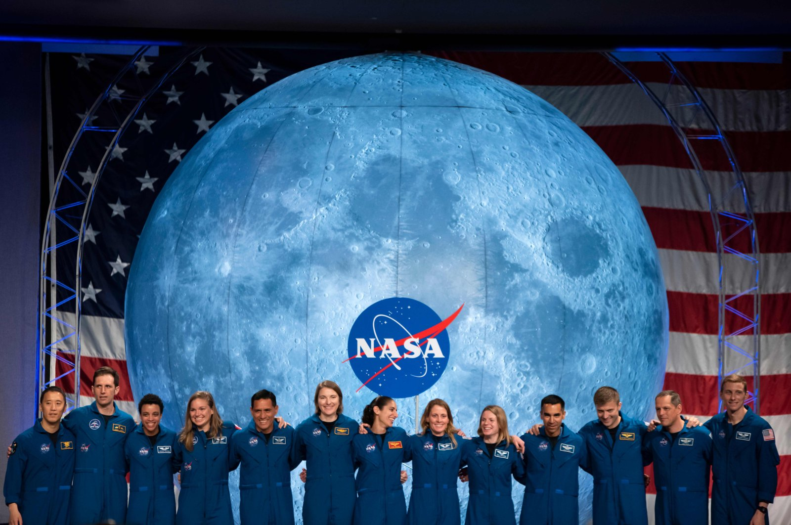 In this file photo taken on Jan. 10, 2020, NASA and Canadian Space Agency (CSA) astronauts acknowledge the audience after their graduation ceremony at Johnson Space Center in Houston Texas. (AFP Photo)