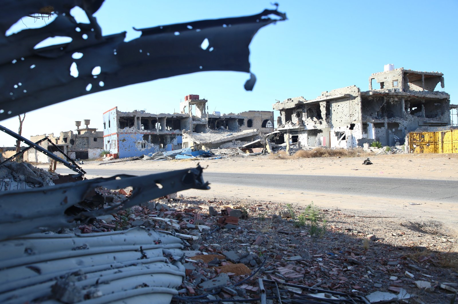 Forces loyal to putschist Gen. Khalifa Haftar left demolished towns in their wake when they withdrew from the southern outskirts of Tripoli, Libya, June 27, 2020. (AA Photo)