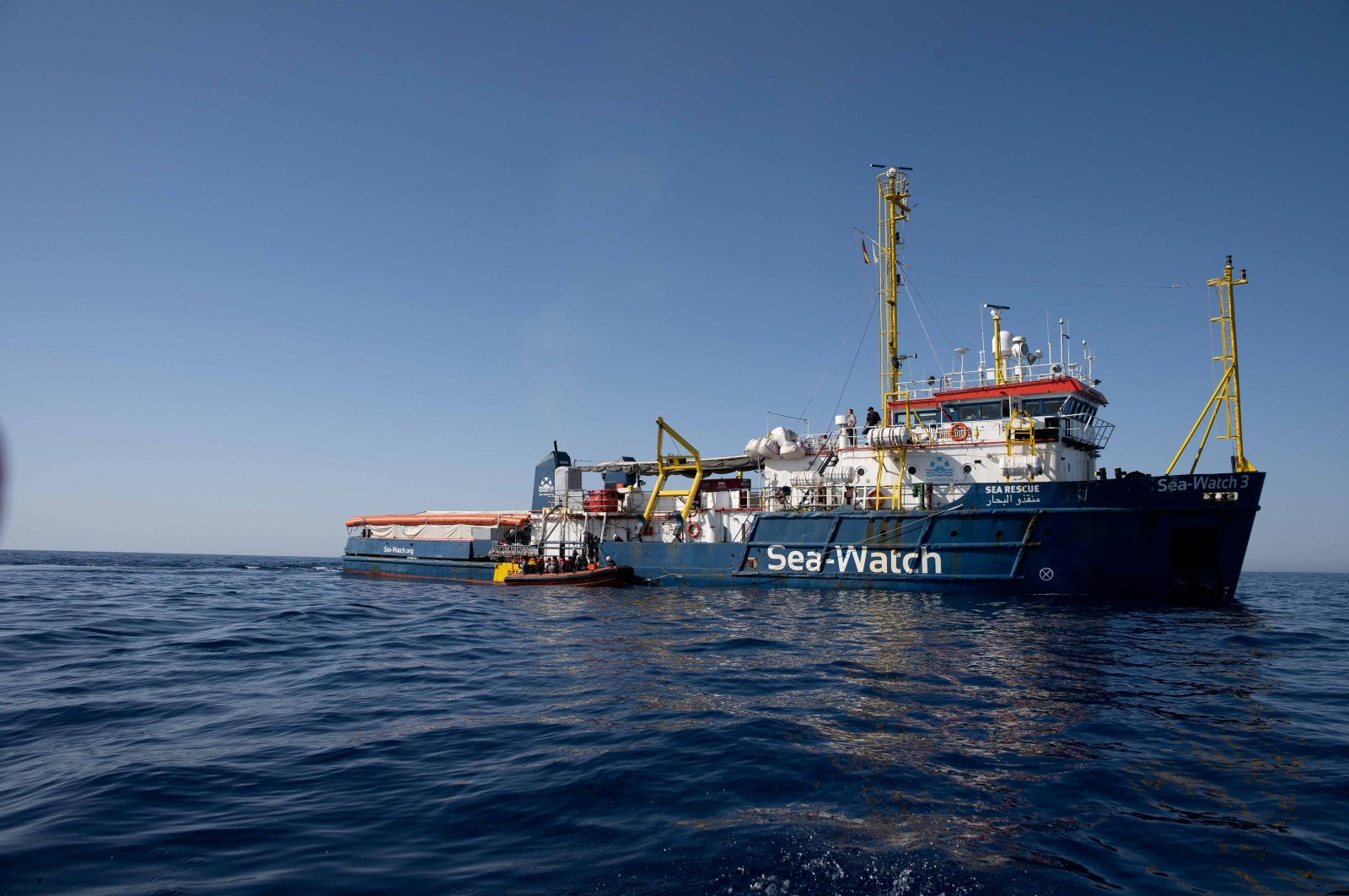 German nongovernmental search and rescue ship Sea-Watch 3 is seen at sea during a search and rescue (SAR) operation in the Mediterranean Sea, off the Libyan coast, June 17, 2020. (Sea Watch / Handout via Reuters)