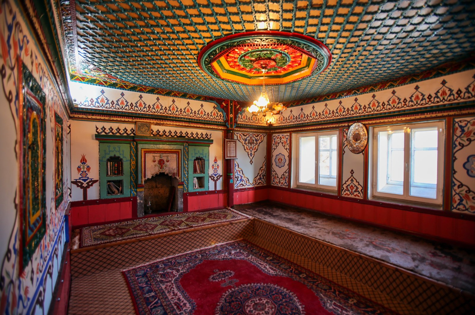 The ornate rooms are the places where social life continues in the village. (İHA Photo)