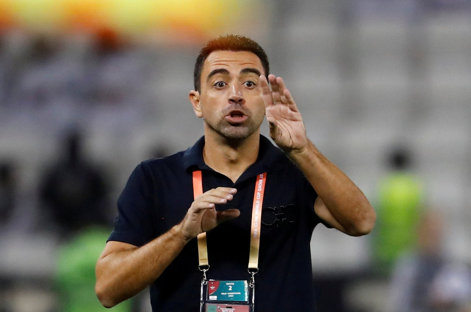 Al Sadd coach Xavi Hernandez reacts during the Club World Cup quarterfinal football match between Monterrey and Al Sadd at the Jassim Bin Hamad Stadium in Doha, Qatar, Dec. 14, 2019. (Reuters Photo)