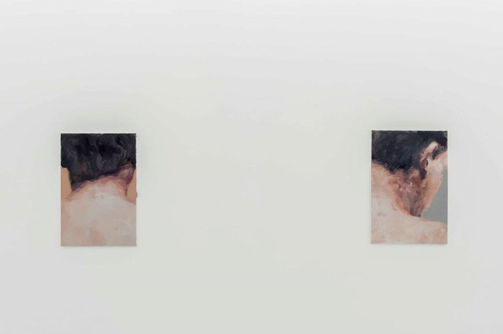 The paintings depicting merging parts of the body by Berke Doğanoğlu.