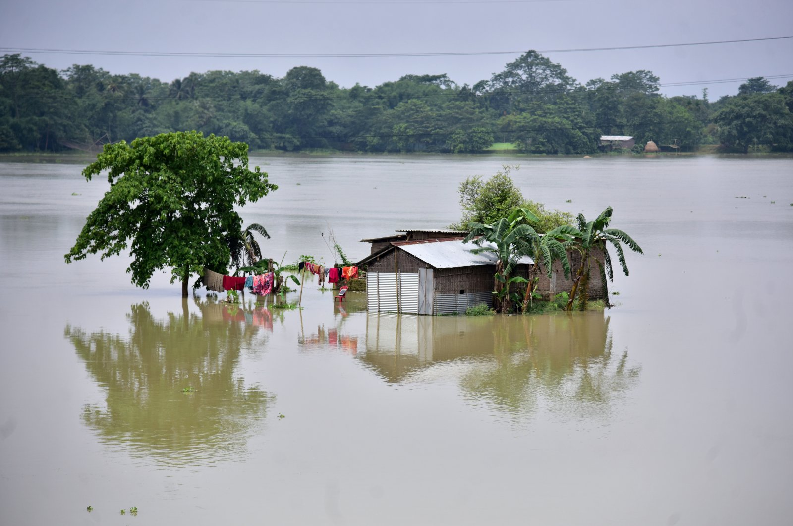 A partially submerged house is seen at the flood-affected Mayong village in Morigaon district, in the northeastern state of Assam, June 29, 2020. (REUTERS Photo)