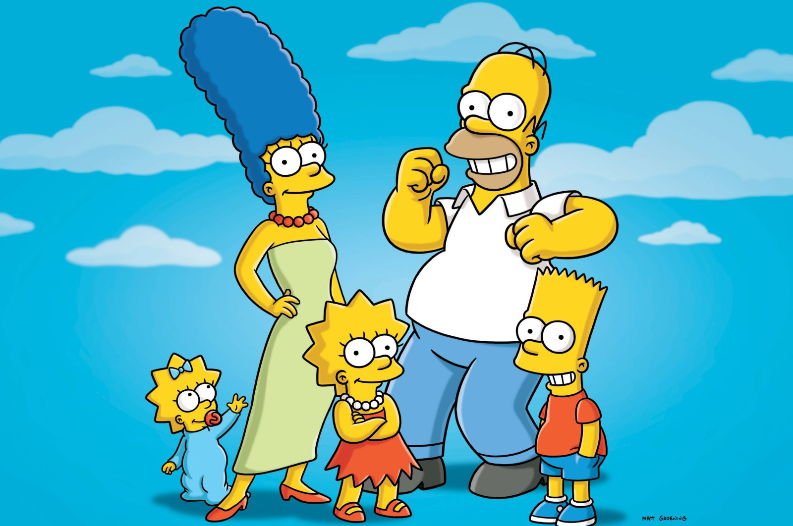 """In this undated publicity photo released by Fox, characters from the animated series, """"The Simpsons,"""" from left, Maggie, Marge, Lisa, Homer and Bart, are shown. (AP PHOTO)"""
