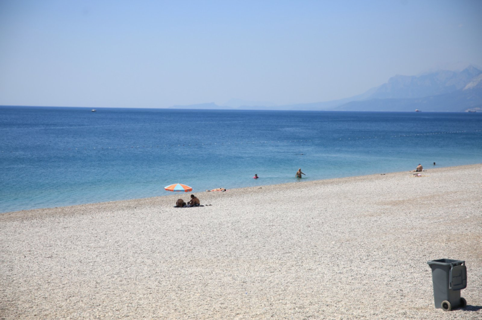 A beach looks deserted in southern Antalya province during the curfew implemented for the nationwide university entrance exams, June 27, 2020. (AA Photo)