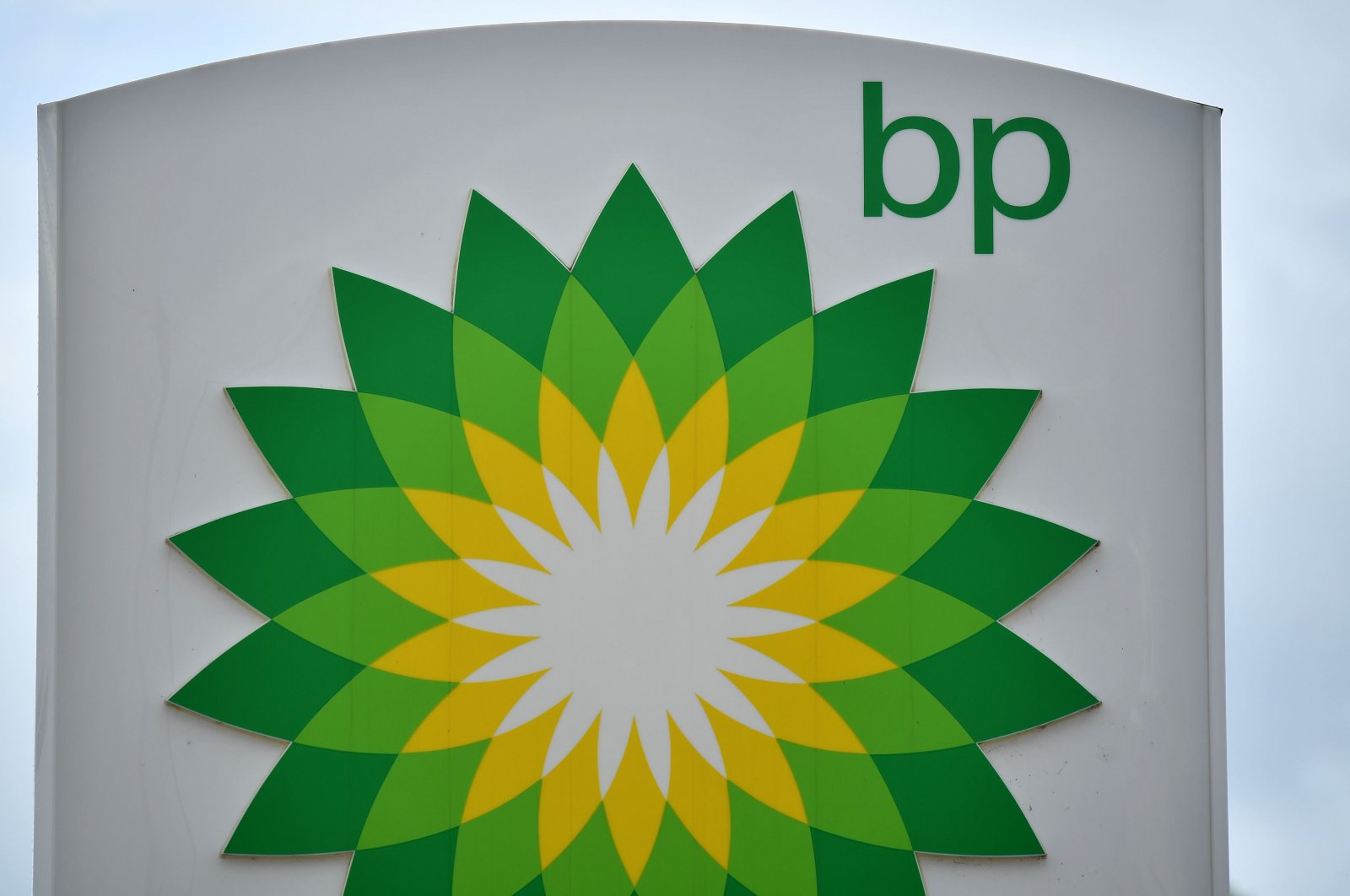 The BP logo is seen at a BP gasoline and diesel filling station in Hildenborough, southeast of London, England, June 15, 2020. (AFP Photo)