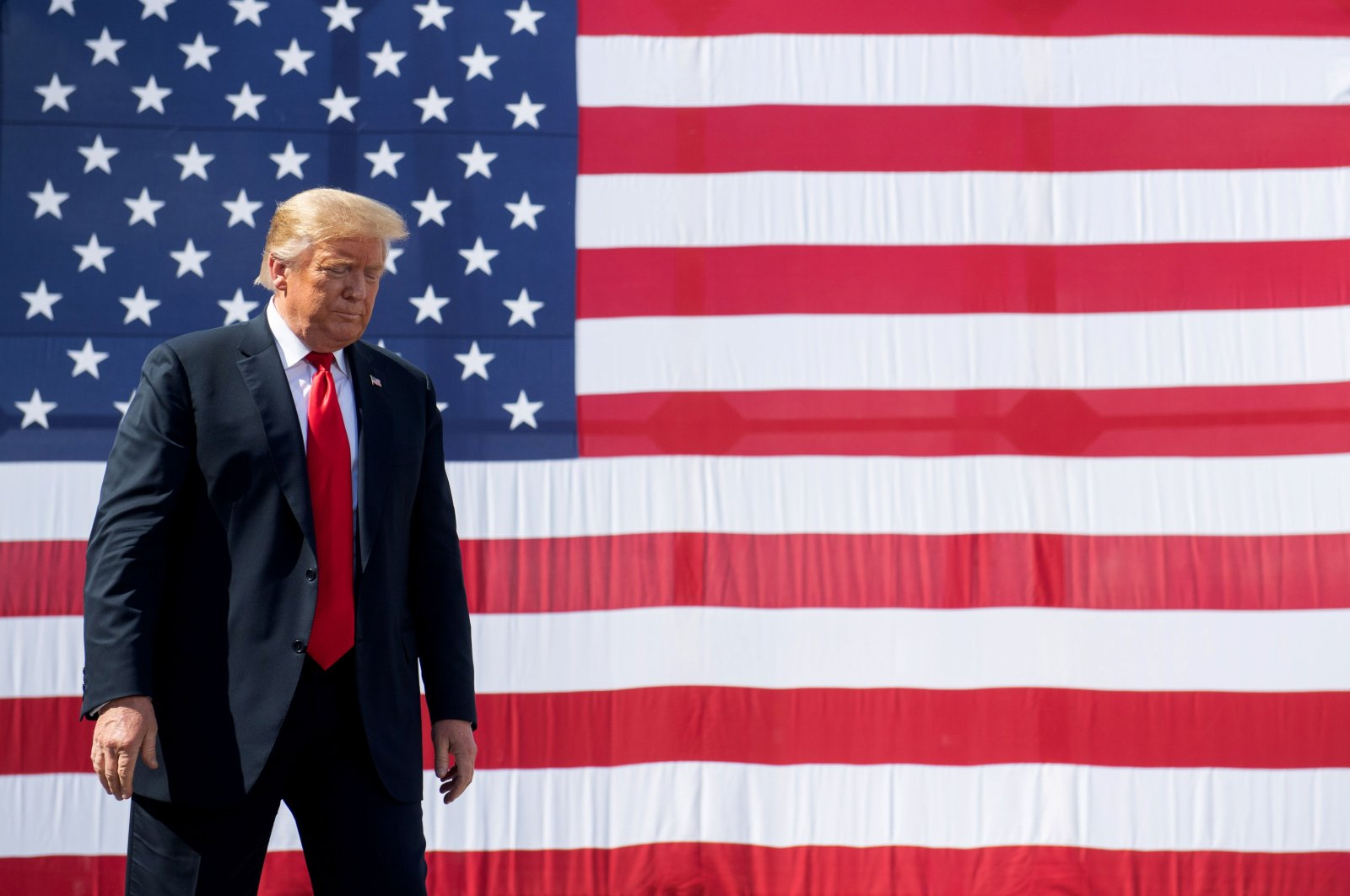 U.S. President Donald Trump gestures following a tour of Fincantieri Marinette Marine in Marinette, Wisconsin, June 25, 2020. (AFP Photo)