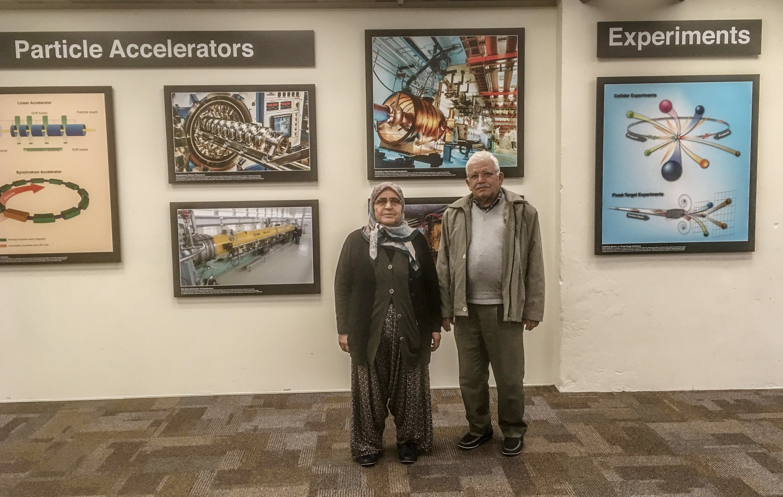 Emrah's parents, Durkadın (L) and Osman Tıraş, visited Fermilab in 2018. (DHA Photo)