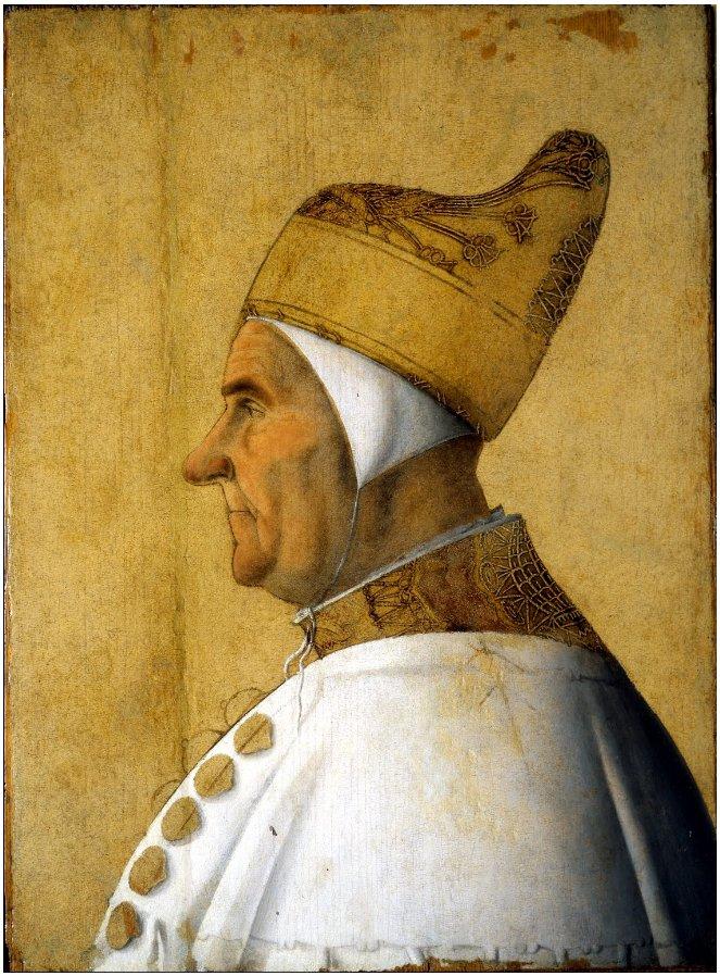 A portrait of Venetian Doge Giovanni Mocenigo by Gentile Bellini.