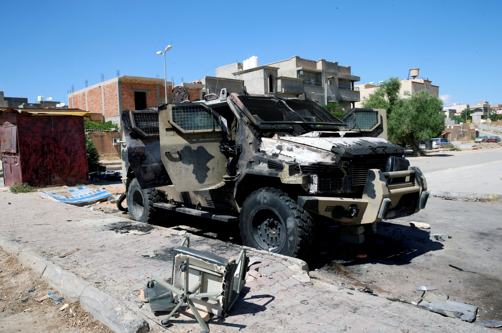 A destroyed and burnt vehicle, that belongs to the putschist Gen. Khalifa Haftar, is seen in Gharyan, south of Tripoli, Libya June 27, 2019. (Reuters File Photo)