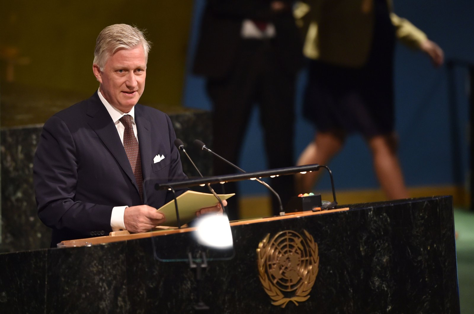 King Philippe of Belgium speaks during the opening session of the 72nd High-Level Meeting on Peacebuilding and Sustaining Peace at United Nations Headquarters in New York, April 24, 2018. (AFP Photo)